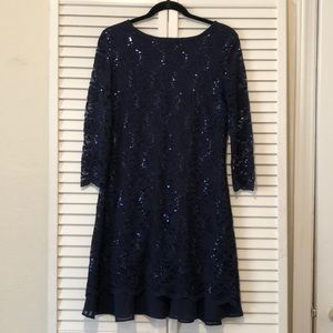 Navy Blue 1/4 Sleeve Floral/Sequin Dress